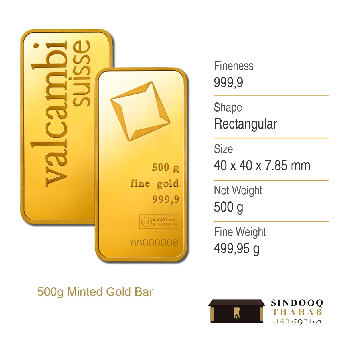 500g Minted Gold Bar