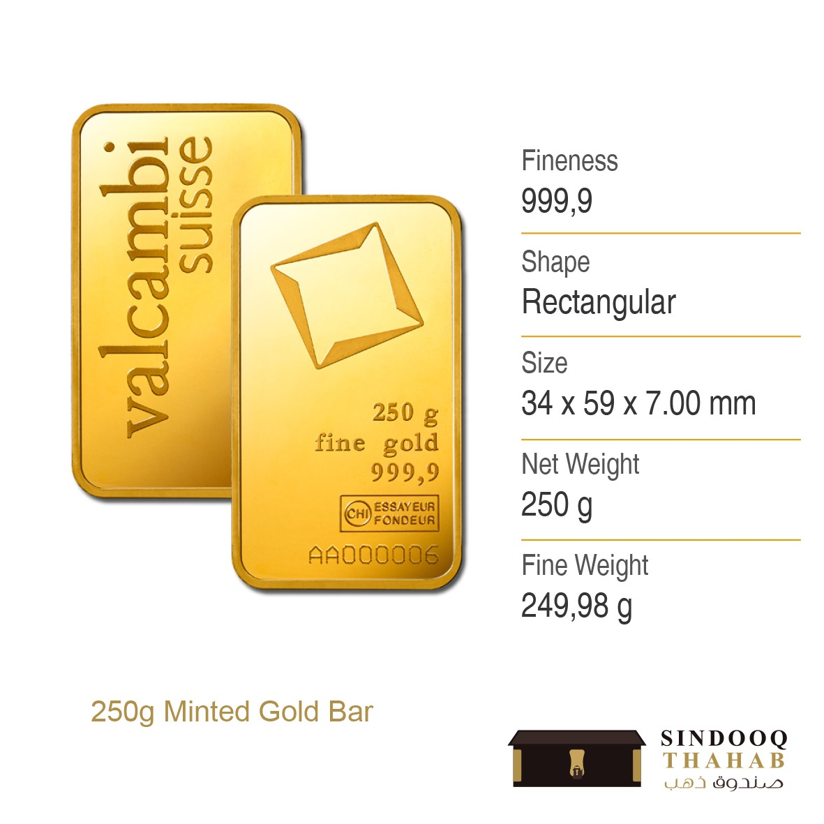 250g Minted Gold Bar