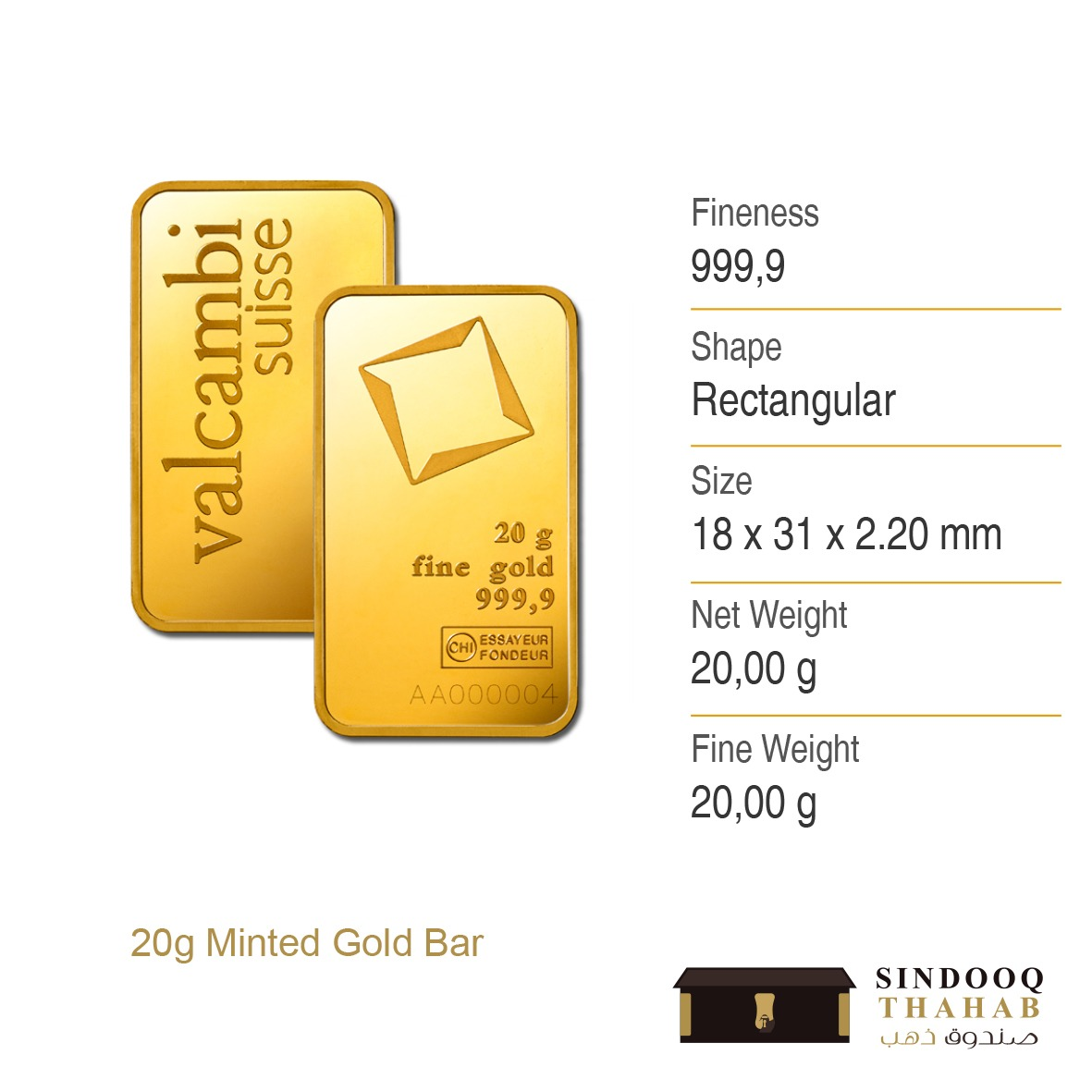 20g Minted Gold Bar